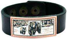 Wholesale Leather Bracelets with Copper Bear Inset