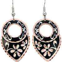Black and Silver Flowers Earrings with Diamond Cut