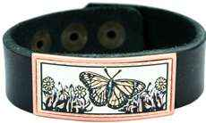 Butterfly and Flowers Copper Art Leather Bracelets