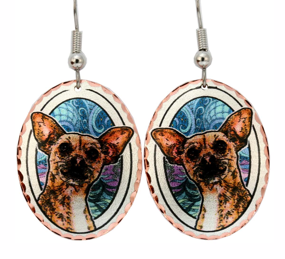Tan Chihuahua Dog Jewelry Earrings