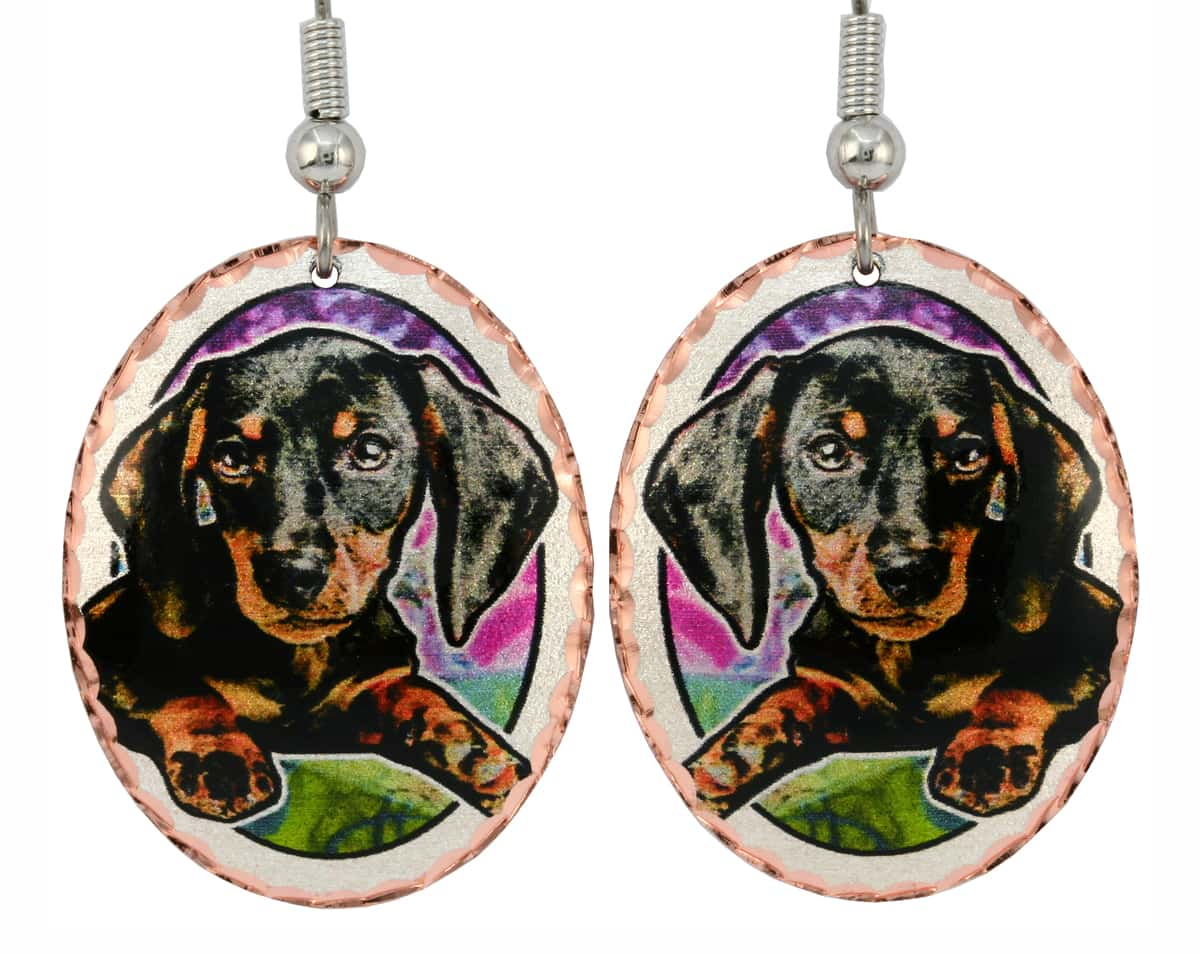 Colorful Dog Earrings Dachshund Puppy