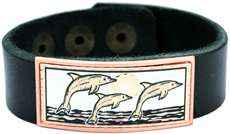 Copper Dolphin Artwork Decorated Leather Bracelets