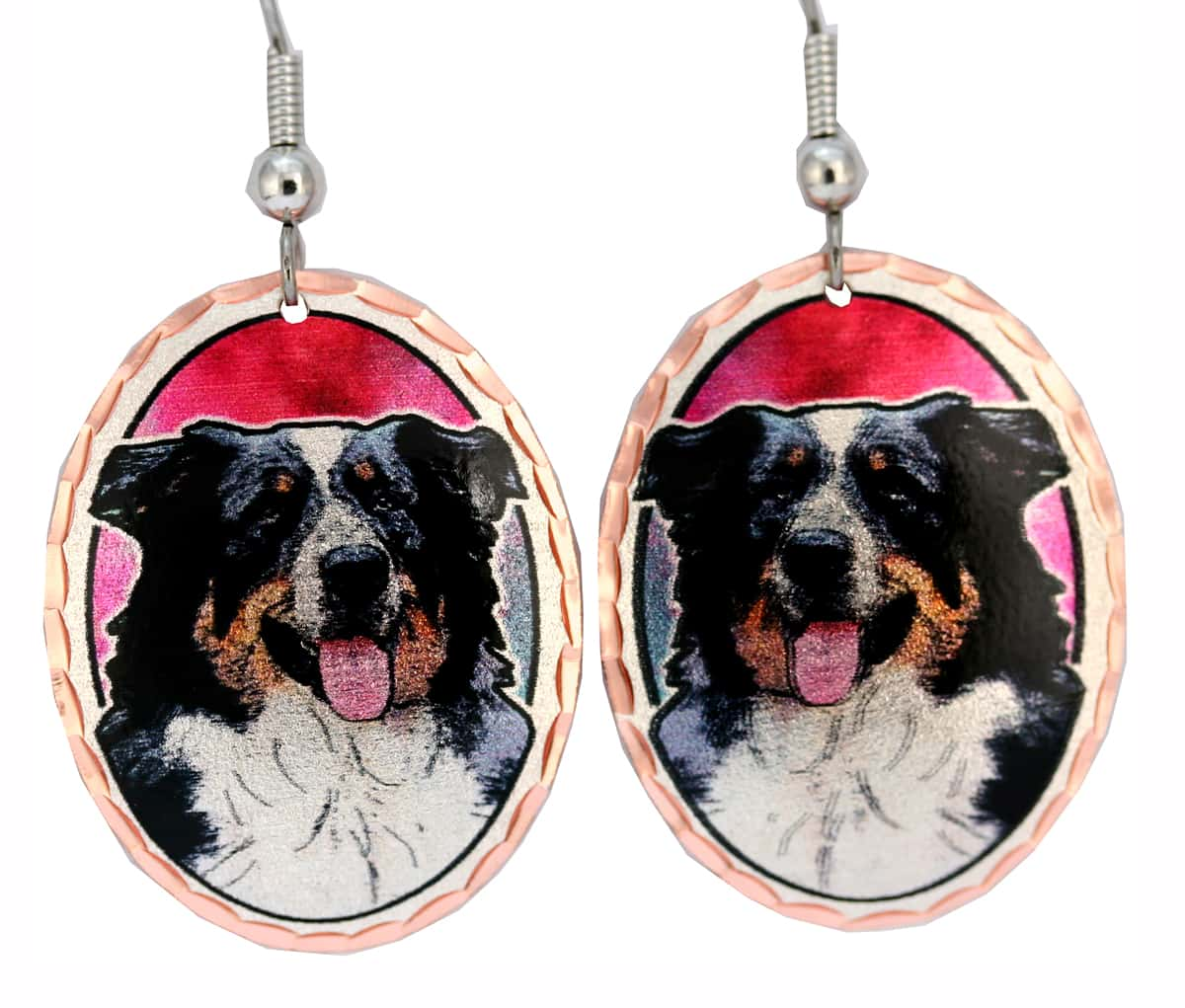 Australian Shepherd Earrings, Copper Dog Jewelry
