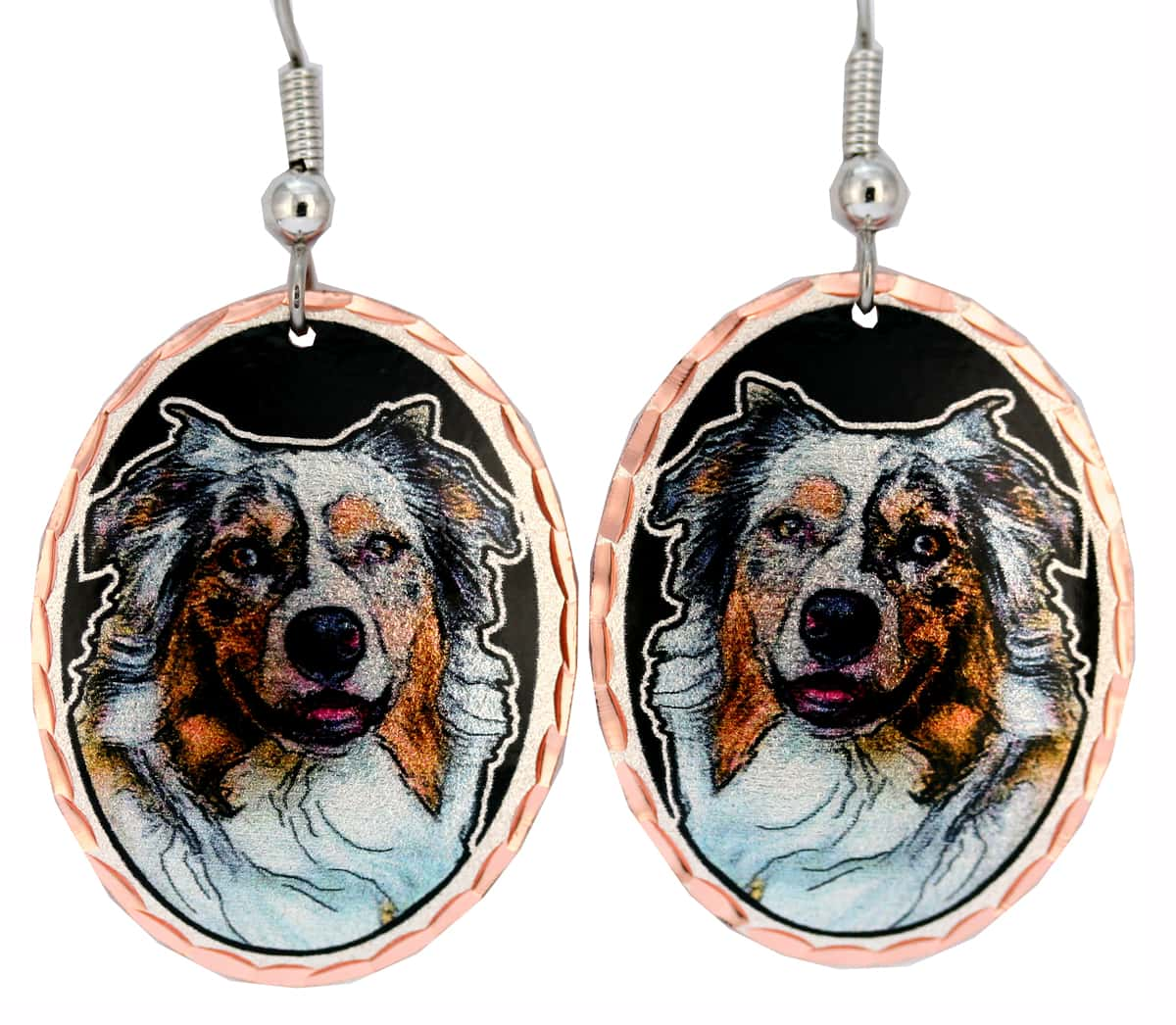 Shepherd Earrings, Colorful Copper Dog Jewelry