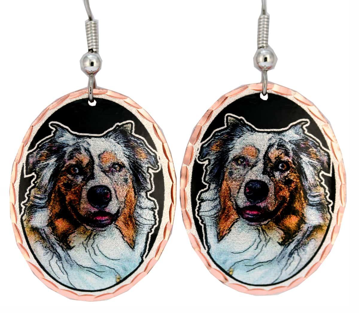 Dog Jewelry, Australian Shepherd Dog Earrings