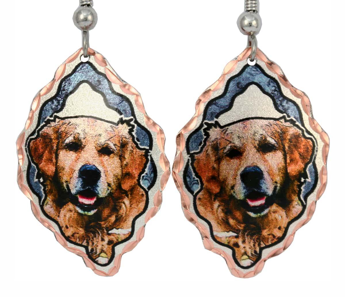 Golden Retriever Earrings, Cute Dog Jewelry