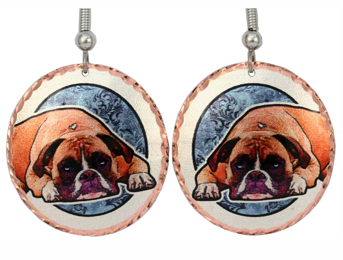 Handcrafted Boxer Earrings, Dog Jewelry