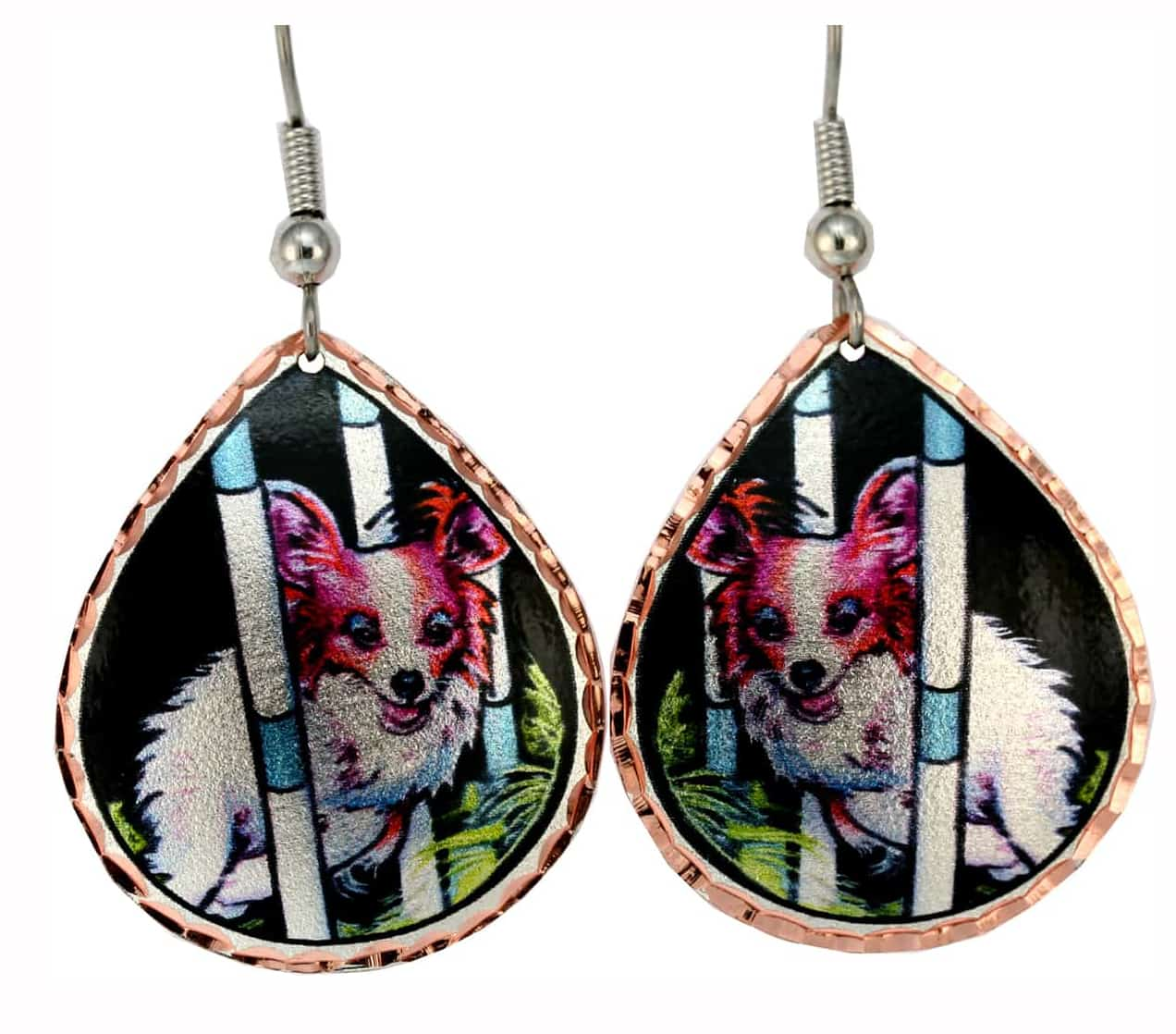 Handcrafted Dog Jewelry, Papilion Dog Earrings