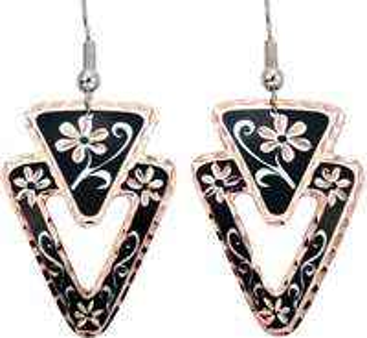 Black Flower Earrings Handmade from Copper