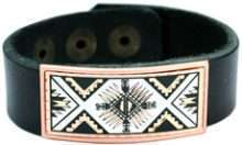 Leather Bracelet Handcrafted in SW Native Indian Art