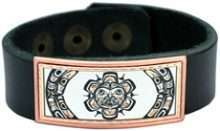 Leather Bracelet NW Native Sun Artwork