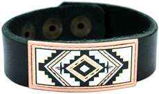 Leather Bracelet with Copper SW Native Artwork