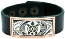 Leather Bracelet with Copper Turtle Artwork