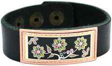 Leather Bracelets with Colorful Floral Artwork