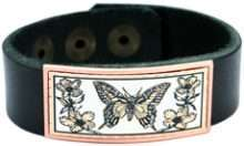 Real Cow Leather Bracelets Embellished with Butterfly Copper Design