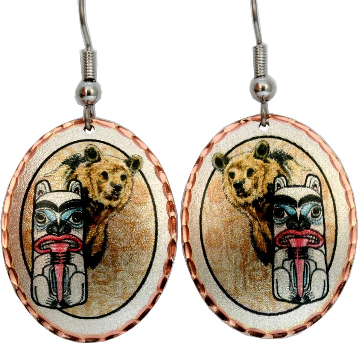 Alaska NW Bear Totem Earrings