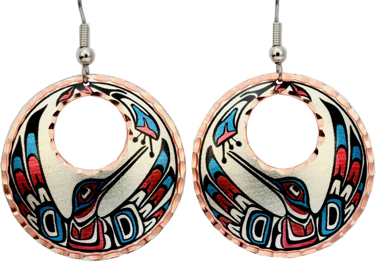Alaska Native Hummingbird Round Earrings