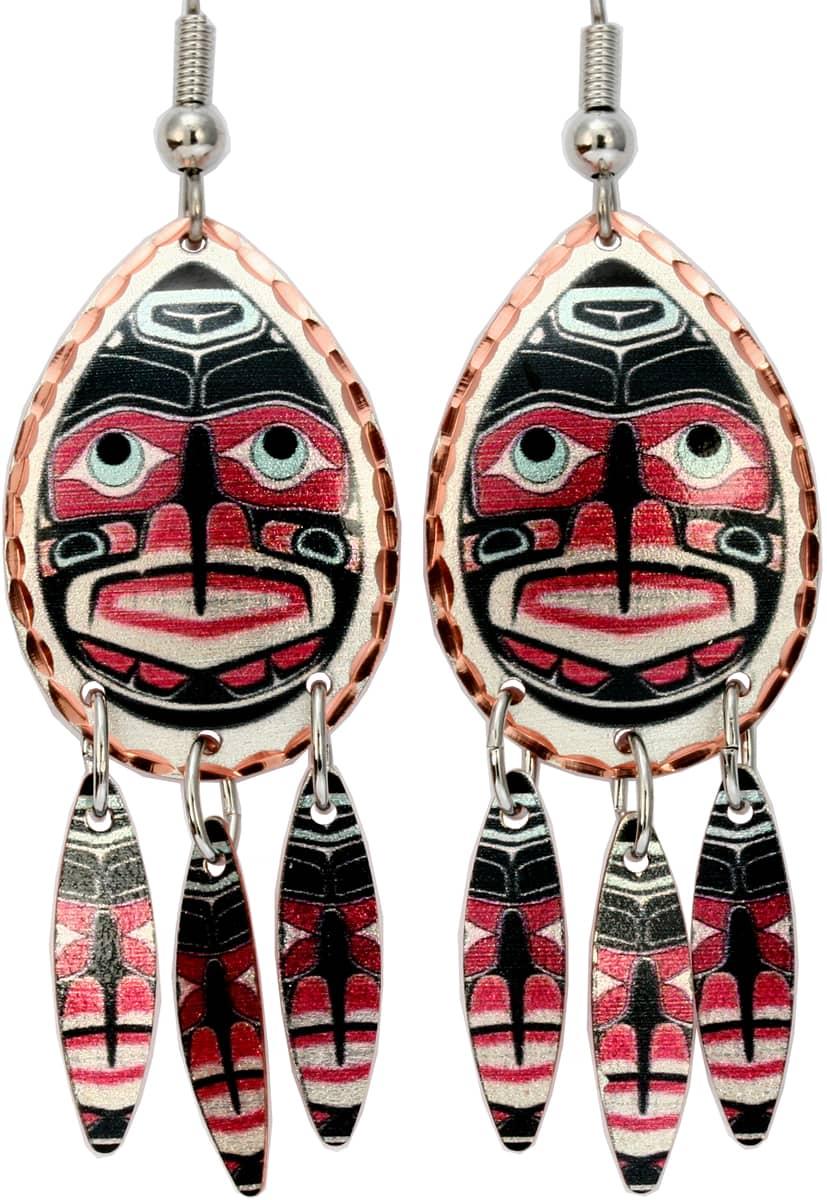 Alaska Native Dangle Human Mask Earrings