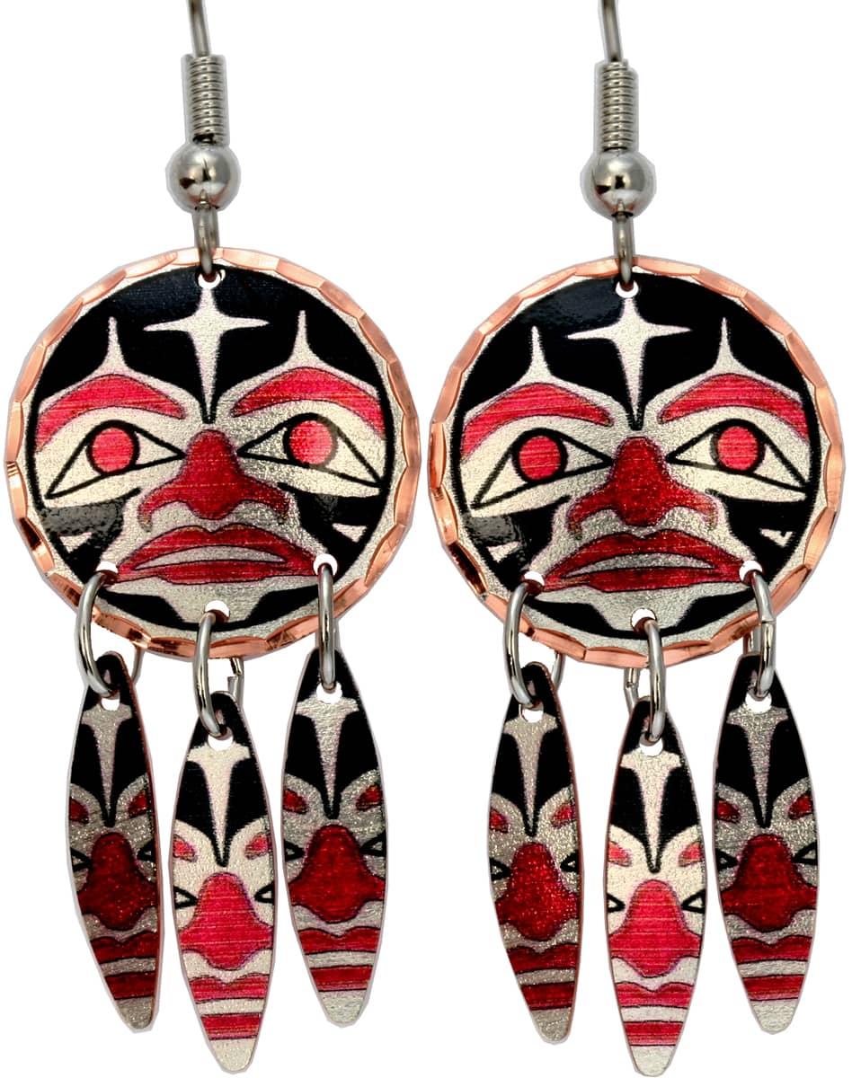 Alaska NW Native Sun Totem Earrings