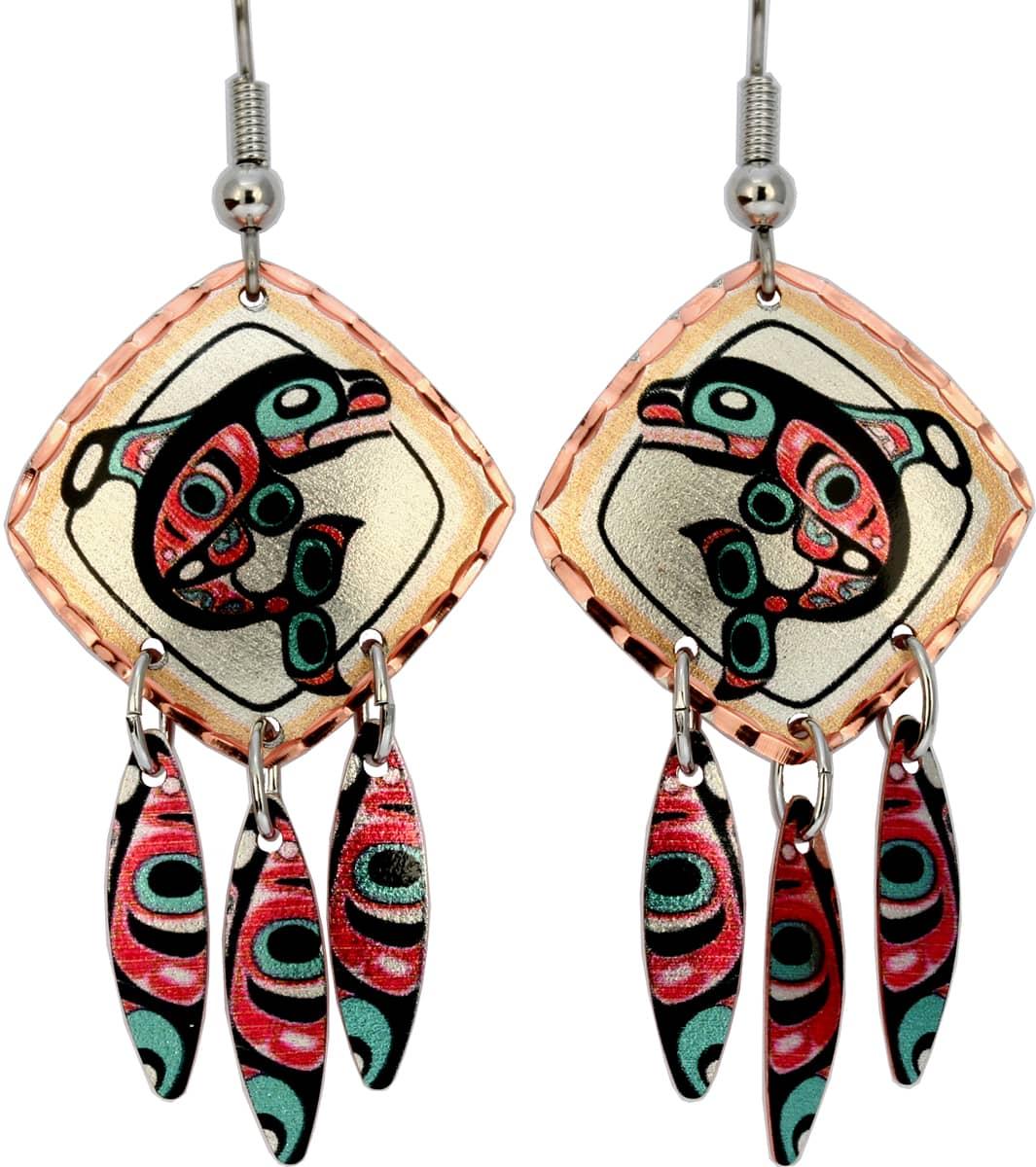 NW Native Whale Dangle Earrings