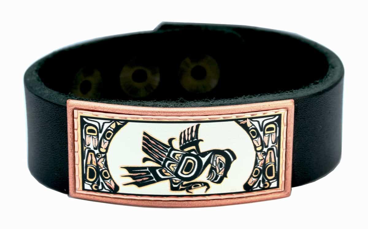 Northwest Native Eagle Leather Bracelet