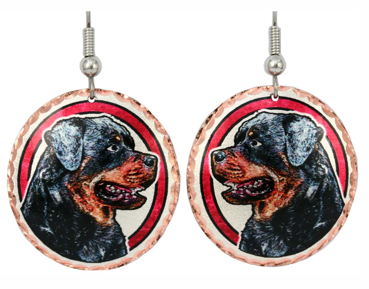 Rottweiler Earrings, Unique Dog Jewelry