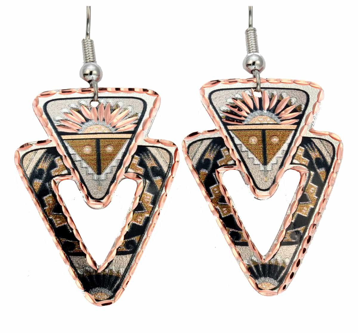 Handmade Unique Earrings, SW Native Sun Earrings