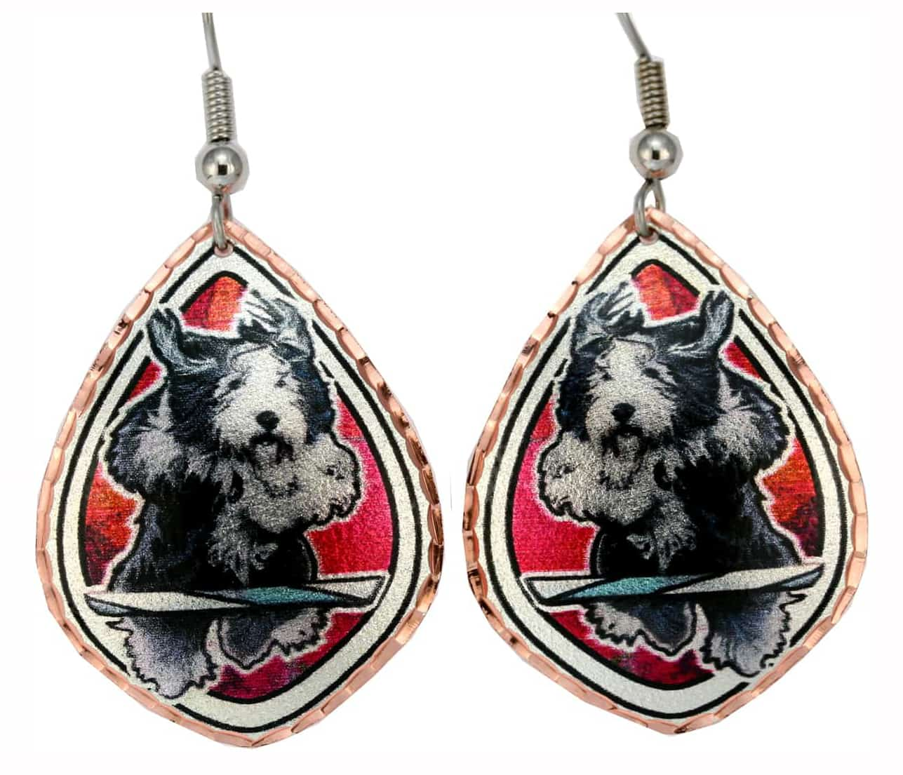 Sheepdog Earrings Colorful Dog Art Jewelry