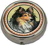 Sheltie Dog Pill Boxes Unique Dog Gifts