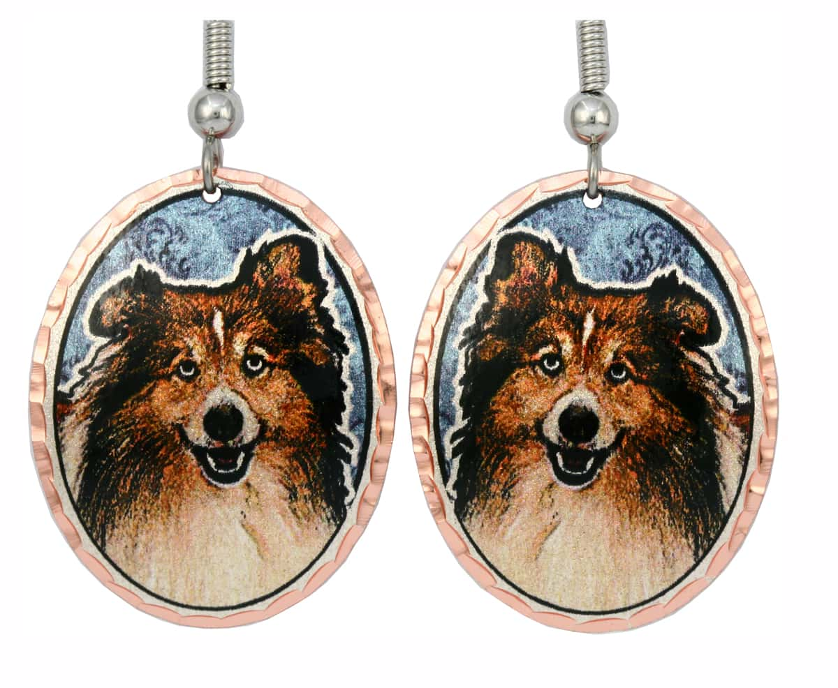 Colorful Dog Jewelry, Shetland Sheepdog Earrings