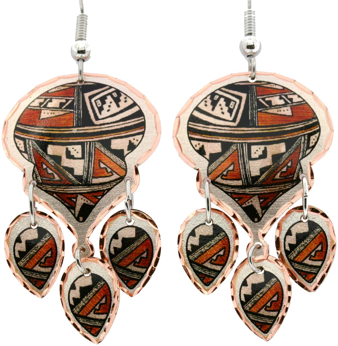 SW Native American Pueblo Dangle Earrings