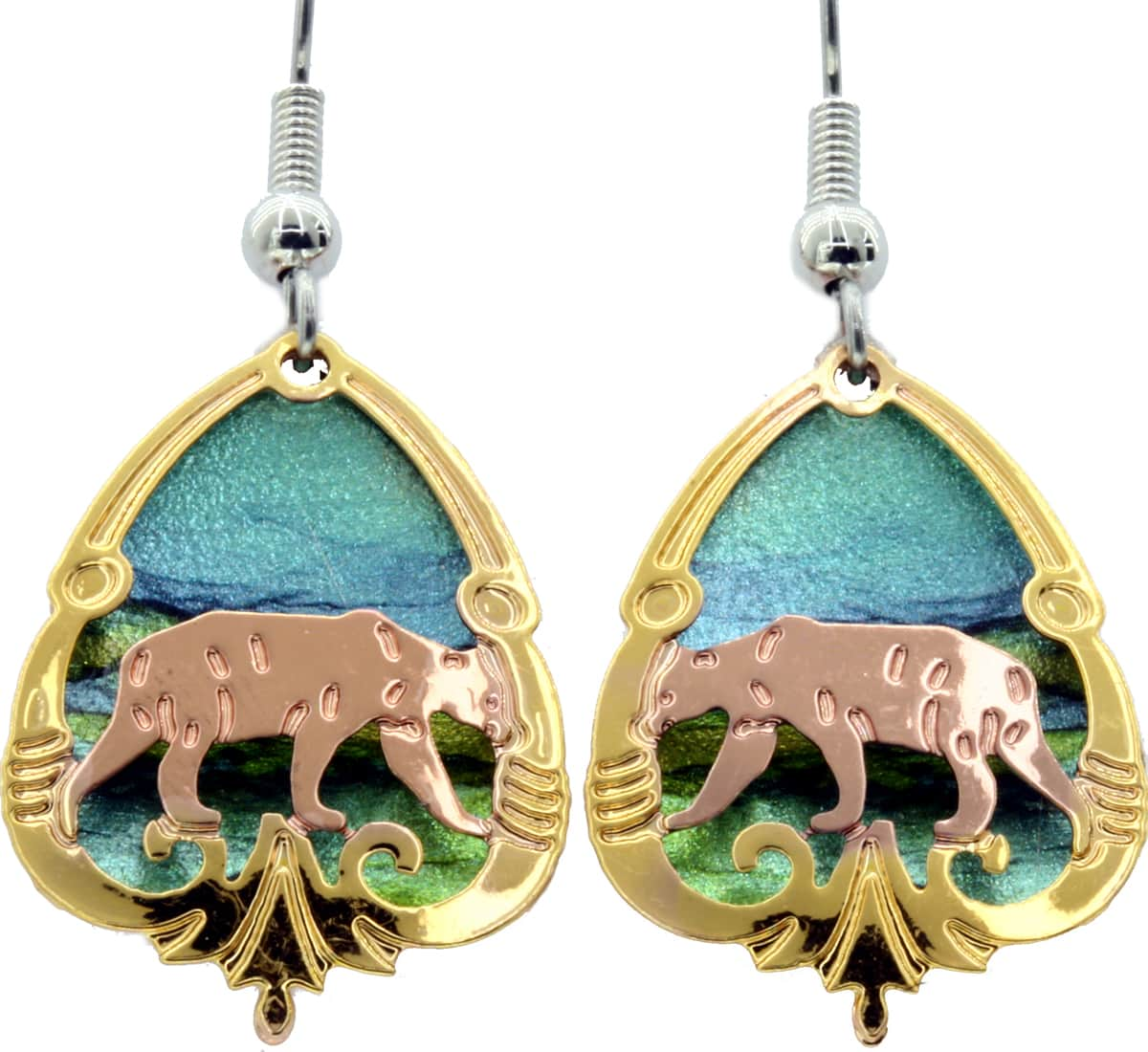 Cut Out Bear Earrings with Gold Filled Border
