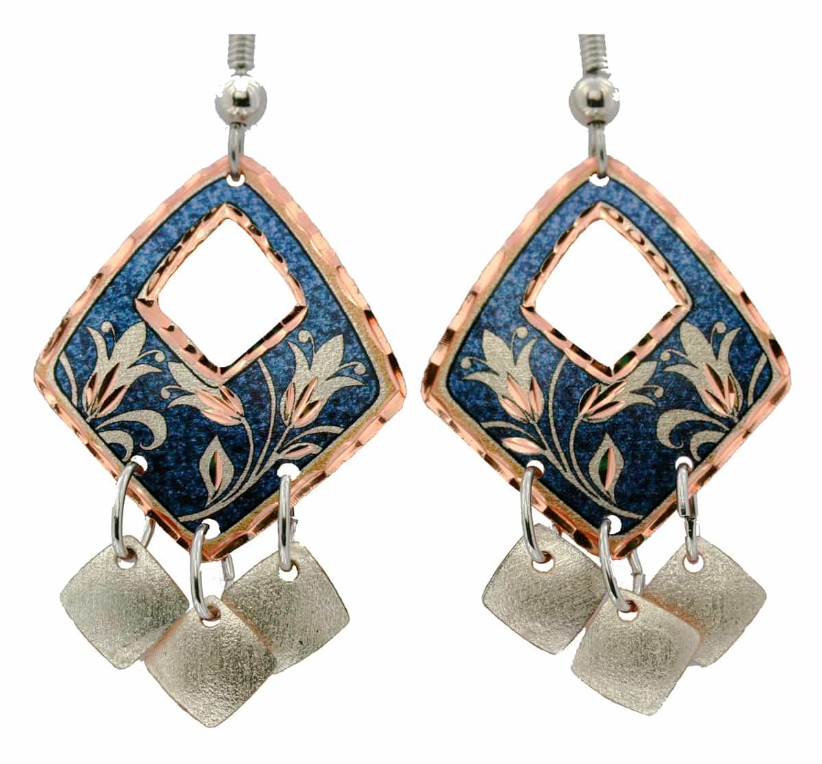 Diamond Shape Dangle Flower Earrings