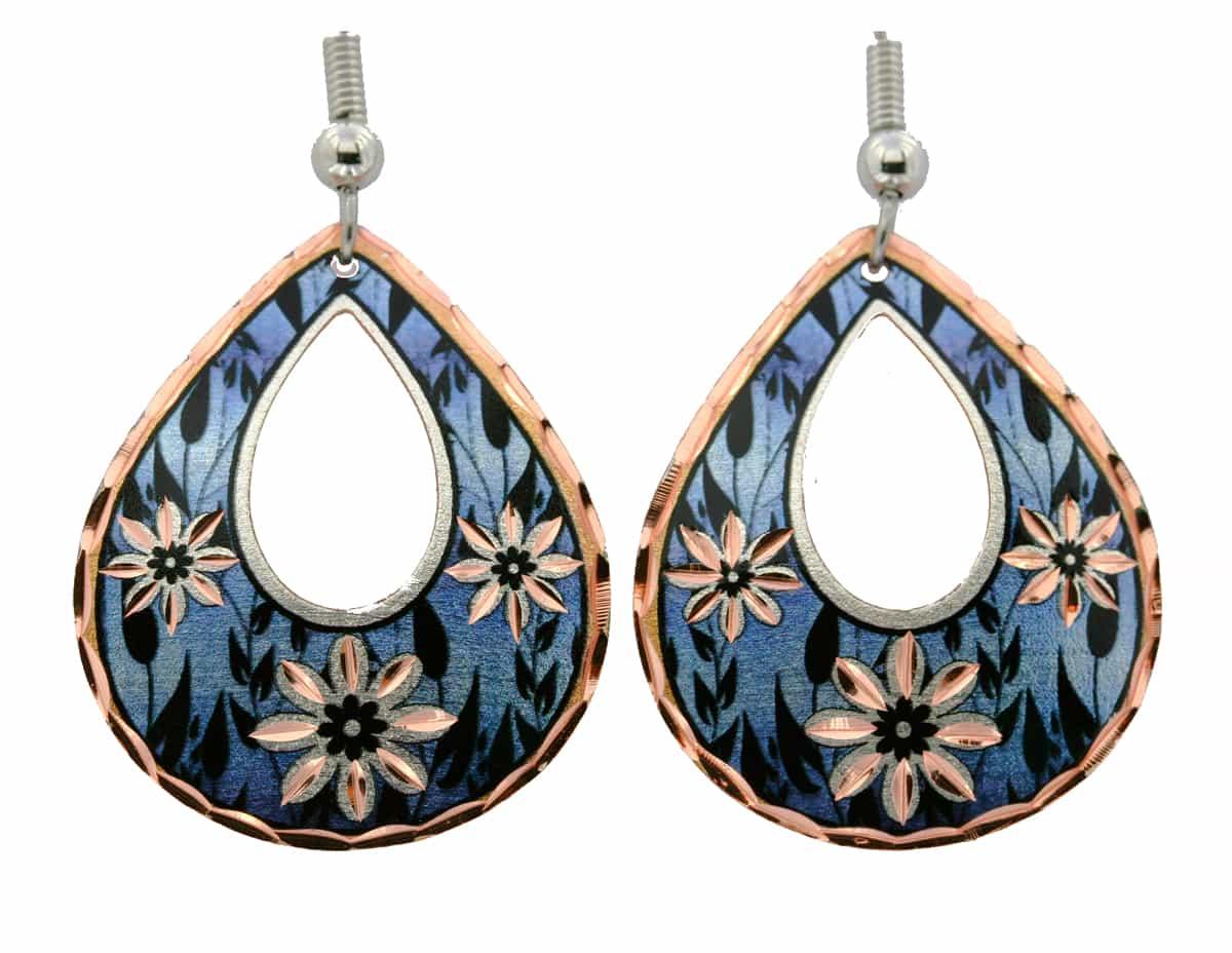 Blue Background Flower Teardrop Earrings
