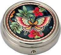 Colorful flowers and butterfly pill-box will take your breath away