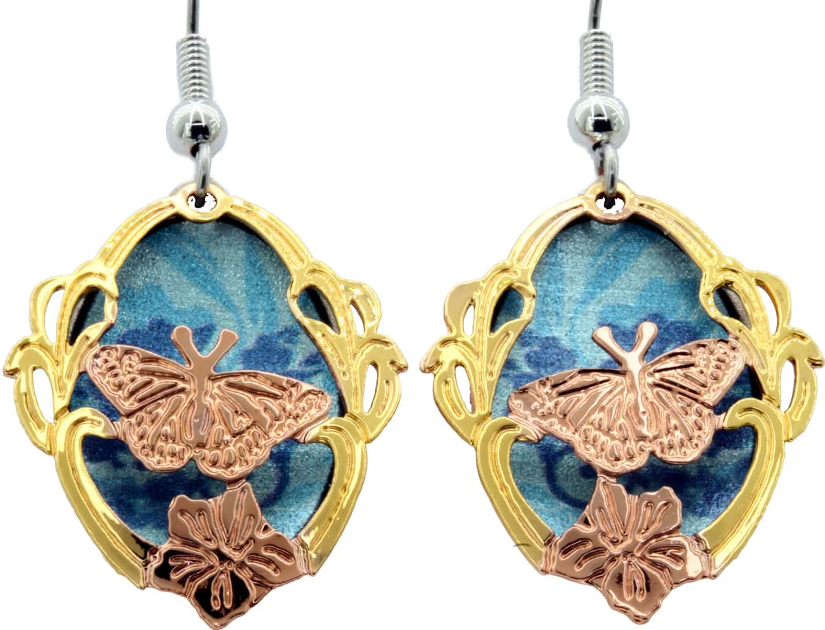 Copper & Gold Etched Butterfly Earrings