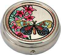Colorful Flowers & Butterfly Pill Box