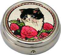 Red roses and cute black and white kitten decorative pill box, handmade gifts for women