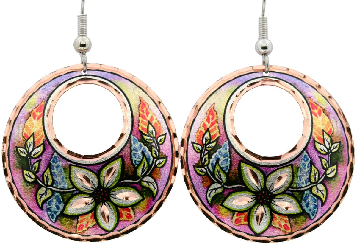 Colorful flower earrings handmade from copper in vibrant colors