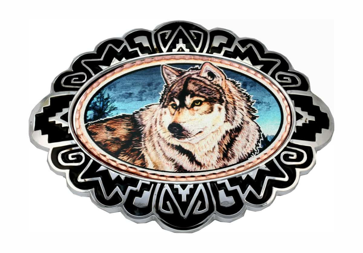 Colorful Wolf Artwork Decorated Western Belt Buckles