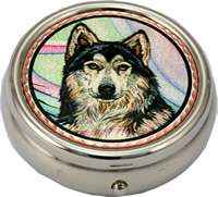 Buy gray wolf head pill boxes designed by Lynn Bean in gorgeous watercolor artwork