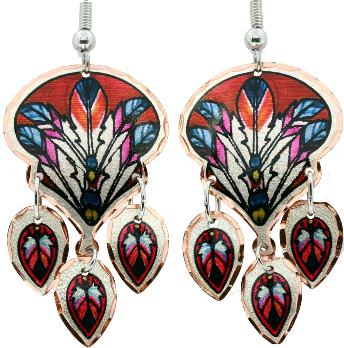 Dangle Copper Earrings with Magnificent Feather Artwork