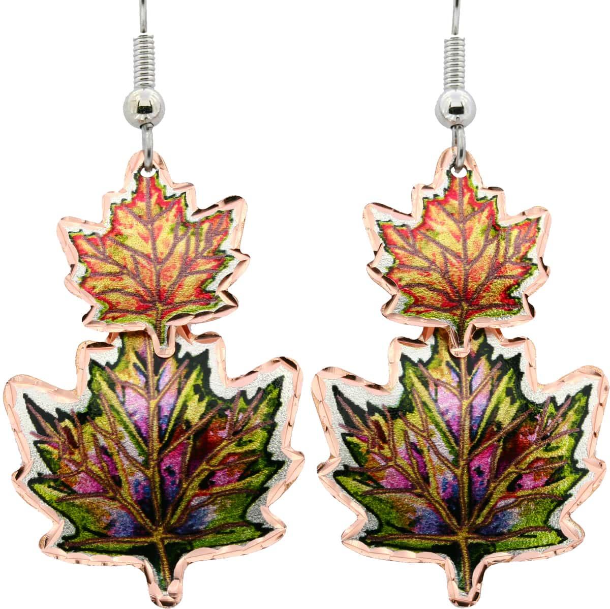 Maple Leaves Copper Dangle Earrings