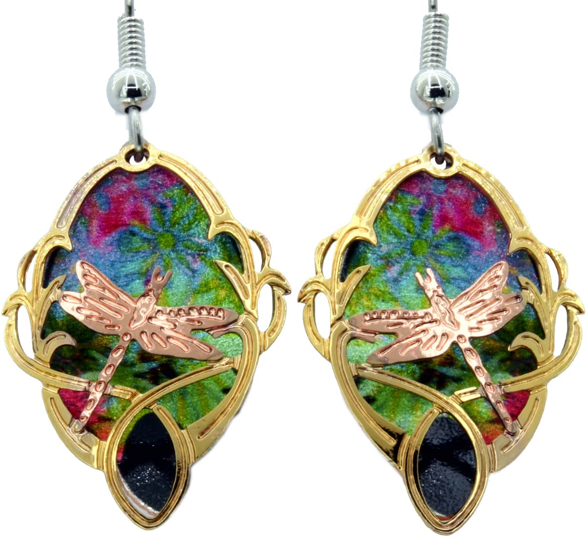 Dragonfly Earrings Cut Out Gold & Copper Plated