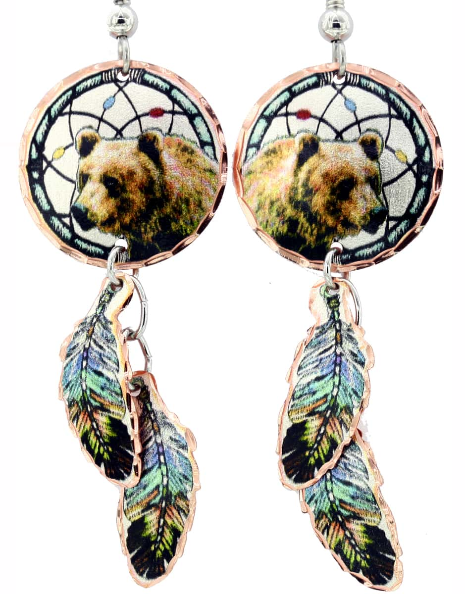 Dreamcatcher Grizzly Bear Earrings