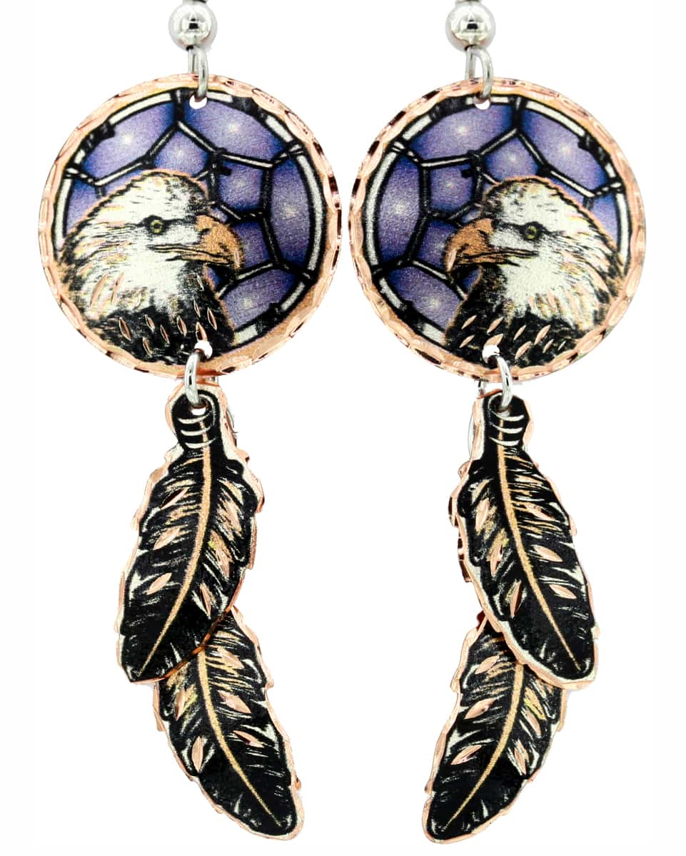 Dangle Copper Feathers Dreamcatcher Eagle Earrings