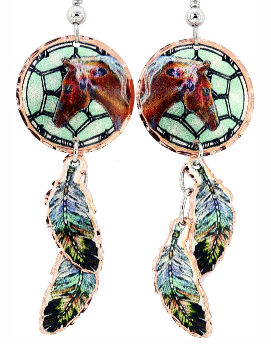 Dreamcatcher Horse Earrings