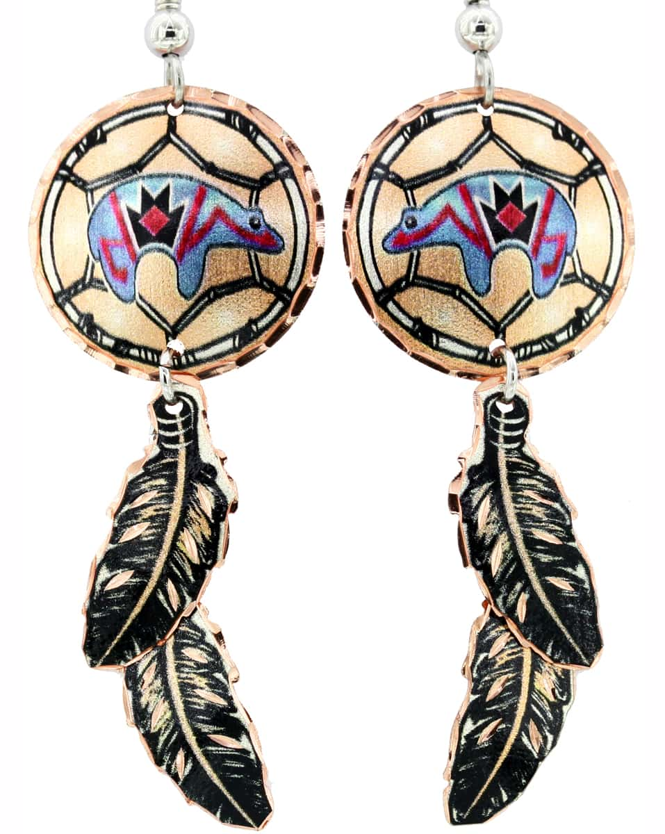 Dreamcatcher Native Bear Earrings with Dangle Copper Feathers