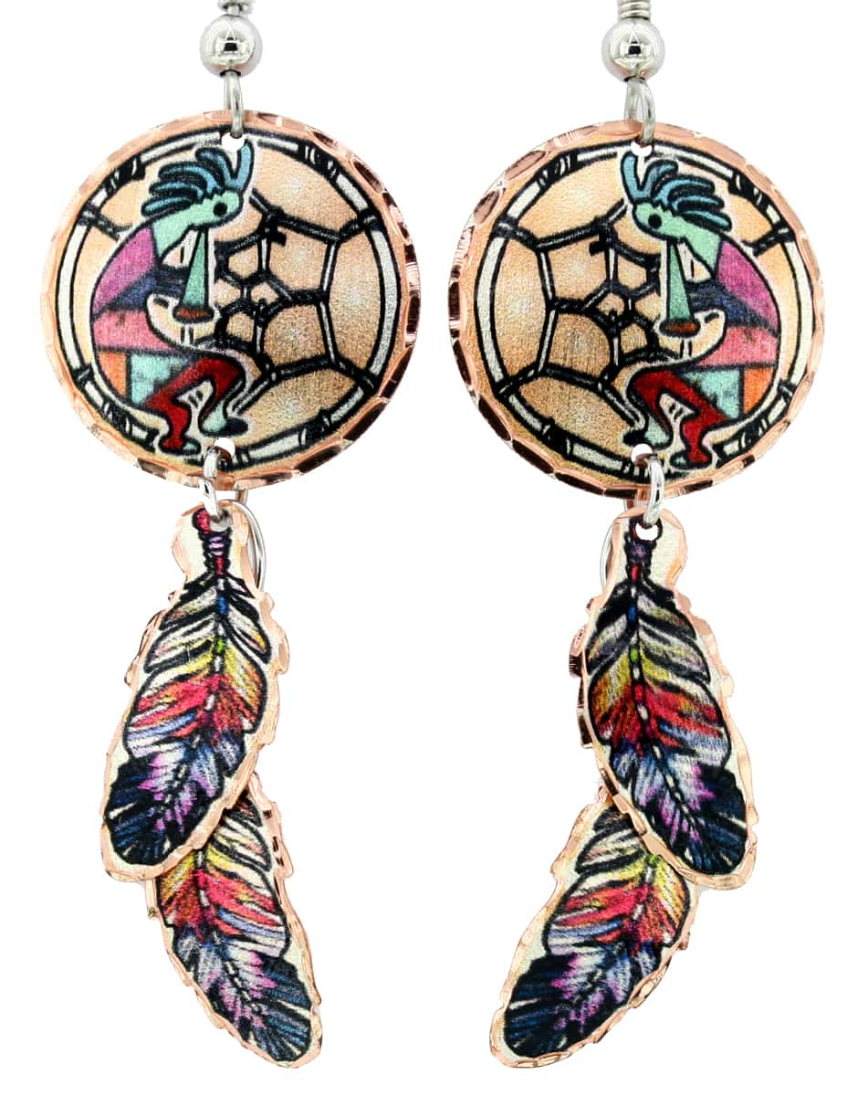 Kokopelli Dreamcatcher Earrings with Dangle Copper Feathers