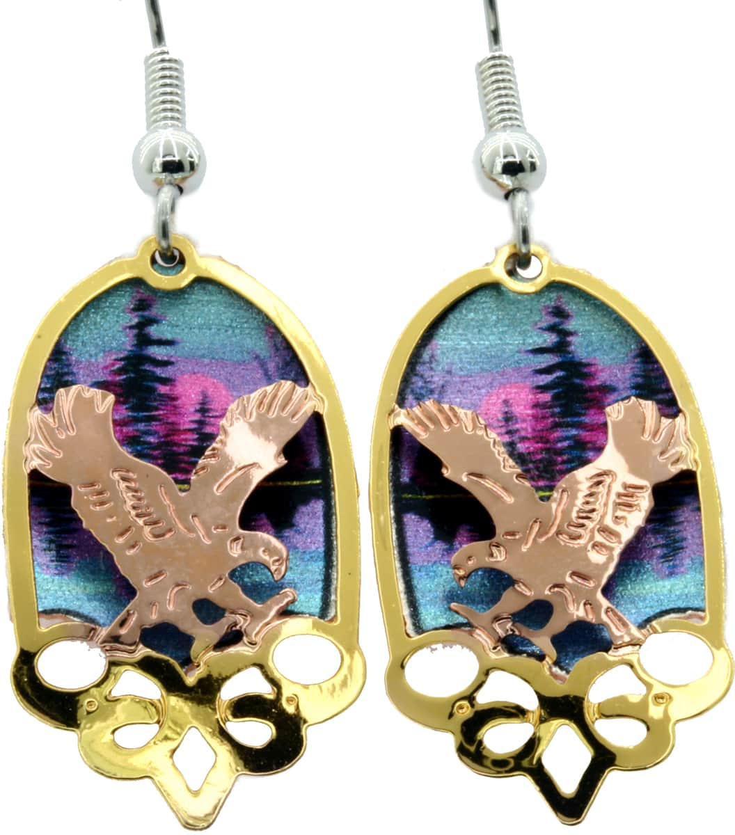 Colorful Background Eagle Earrings